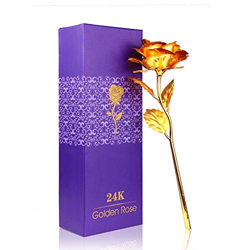ALLOMN Rose 24K Gold überzogene Rosen-Blume mit Geschenk-Kasten Valentinstag Muttertag Weihnachtsgeburtstag Golden/Rot/Lila/Blau (Golden)