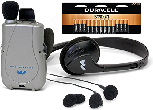 Williams Sound PockeTalker Ultra Duo Sound Amplifier with Headphone & Earbud, 20 AAA Batteries and Free Mini Dual Earbuds