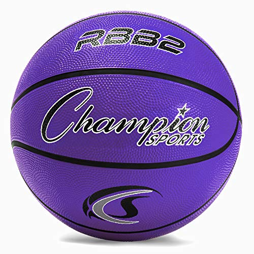 Champion Sports Rubber Junior Basketball, Heavy Duty - Pro-Style Basketballs, Various Colors and Sizes - Premium Basketball Equipment, Indoor Outdoor - Physical Education Supplies (Size 5, Purple) (RBB2PR) Minnesota