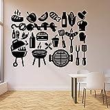 JUDING Comedor Vinilo calcomanía de Pared Kebab Barbacoa Comida rápida Delicioso Restaurante Etiqueta de la Pared decoración nórdica del hogar 42x55 cm