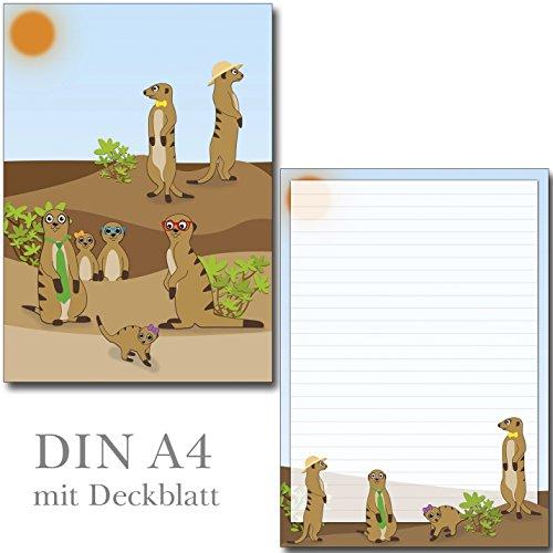 Erdmännchen - 1 Schreibblock DIN A4 liniert + 15 Briefumschläge DIN lang 7230+692-15F