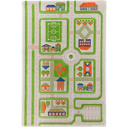 Little Helper IVI Exclusive Thick 3D Childrens Play Mat & Rug in a Colourful Town Design with 3 Dimensional Football Pitch, Car Park & Roads, Green (100 x 150cm)
