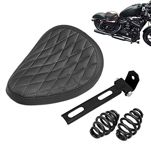 Amazicha Black Leather Solo Seat 3' Spiral Springs Mount Bracket Kit Compatible for Harley Honda Yamaha Kawasaki Suzuki Sportster Bobber Chopper