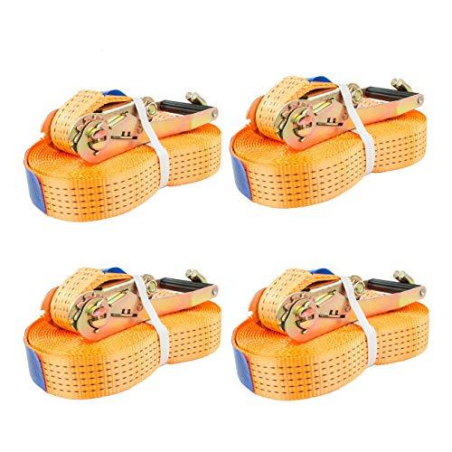 Spanngurt 5 to 8m orange Zurrgurt 5000 kg 8m Ratsche Ratschengurt Spanngurte Ratschenspanngurt DIN EN 12195-2 (4 Stück 4t / 5m)