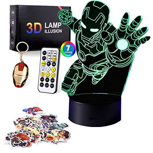 Geschenk für Jungen und Kinder, 3D-Nachtlicht mit 7 Farben Spielzeug für 8–12 Jahre alte Kinder, Jungen, Mädchen, 3D-Lampe, Geburtstagsgeschenk, Alter 7, 8, 9, 10