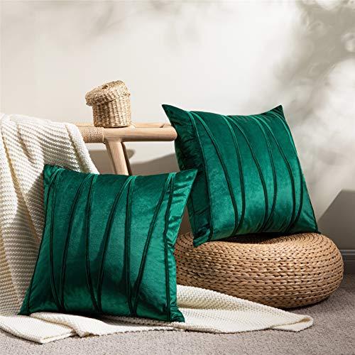 Topfinel Dark Green Cushion Covers 16 x 16 Velvet Throw Pillow Cases Couch Cushion Covers For Sofa Bedroom Livingroom Stripe Design Pillowcases 40cmx40cm Pack of 2