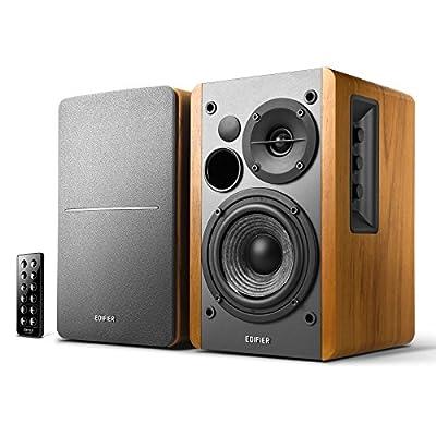 Edifier R1280DB Powered Bluetooth Bookshelf Speakers - Optical Input - Wireless Studio Monitors - 4 Inch Near Field Speaker - 42w RMS - Wood Grain from Edifier