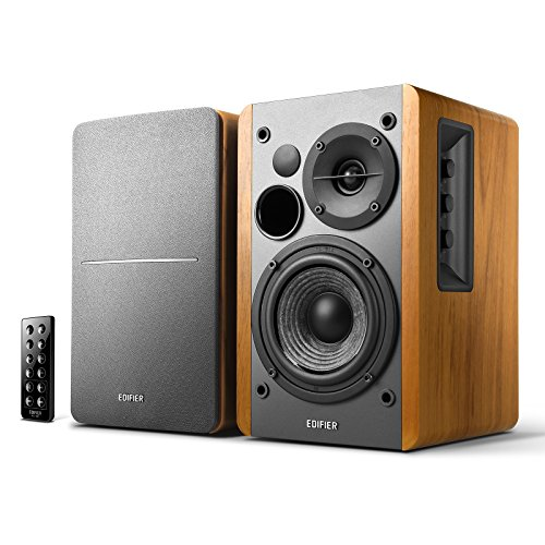 Edifier R1280DB Powered Bluetooth Bookshelf Speakers  Optical Input  Wireless Studio Monitors  4 Inch Near Field Speaker  42w RMS  Wood Grain