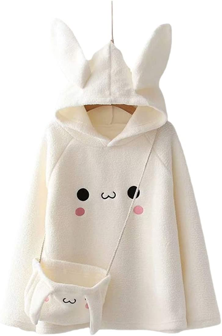 Aza Boutique Girl's Bombing free shipping Cute Cotton Hooded Ears Cape Blend Rabbit Challenge the lowest price of Japan