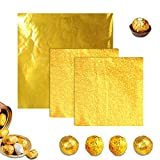 Aibyncoo 300pcs Chocolate Candy Wrappers Gold Foil Square Aluminum Foil Candy Wrapping Foil for Easter Egg Valentine's Day Chocolate 100 PCS 6'x 6' and 200 PCS 4' x 4' (Golden)