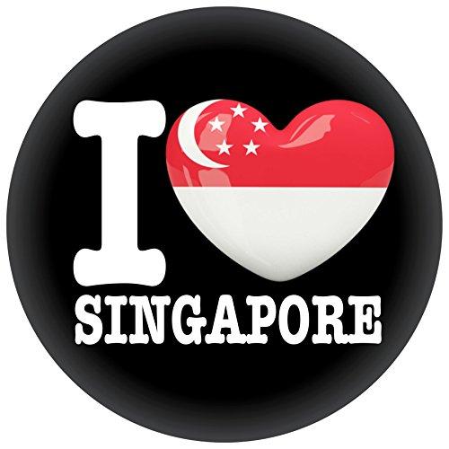 FanShirts4u Button/Badge/Pin - I Love SINGAPUR Fahne Flagge SINGAPORE (I Love Singapore)