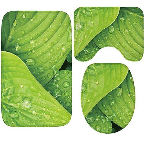 Alfombrilla De Baño Juego De Alfombrillas De Baño De Franela 3 Uds, Alfombrillas De Baño Con Estampado De Hojas Verdes De Microfibra, Alfombra Antideslizante Y Juego De Inodoro-Hlds_60*40Cm