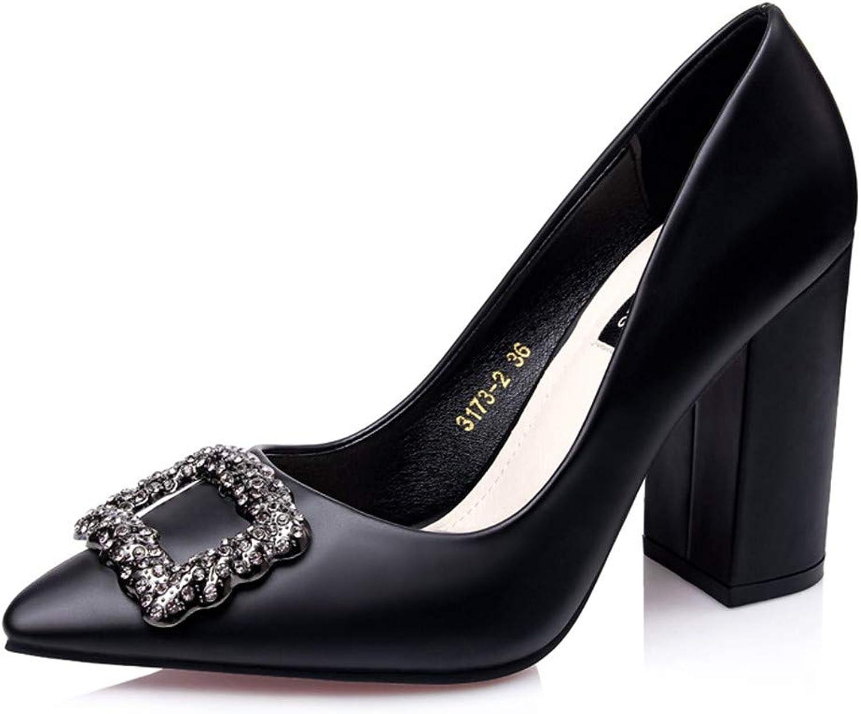 BestLifes Block Heels Rhinestone shoes Woman Purple Black High Heel Pumps Women Office Wedding shoes