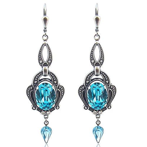 Jugendstil Ohrringe mit Kristallen von Swarovski® Türkis Silber NOBEL SCHMUCK