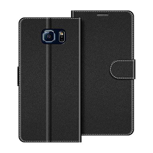 COODIO Handyhülle für Samsung Galaxy S6 Handy Hülle, Samsung Galaxy S6 Hülle Leder Handytasche für Samsung Galaxy S6 Klapphülle Tasche, Schwarz