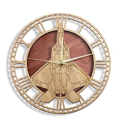Táctico de combate aviones Woo n reloj de pared rústico hogar cor aviación signo reloj de pared silencioso barrido reloj 30cm