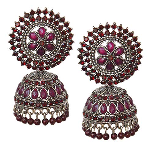 Pahal Traditional Jadau Red Kundan Pearl Big Silver Jhumka Earrings Indian Bollywood Bridal Jewelry for Women