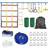 Carrera de obstáculos para niños, Kacsoo- Kit Slackline 50 pies Anillos de Ninja Escalera de Cuerda de Escalada Red de Carga de Escalada Equipo de Entrenamiento de Guerrero Ninja para Adultos y niños