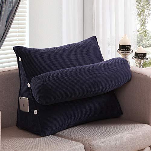 ASDFF Dreieckskissen Perle Baumwolle einfarbig einstellbar Dreieckskissen Sofa Bürostuhl Kissen abnehmbar waschbar Kissen Lesekissen 60 * 50 * 20 G