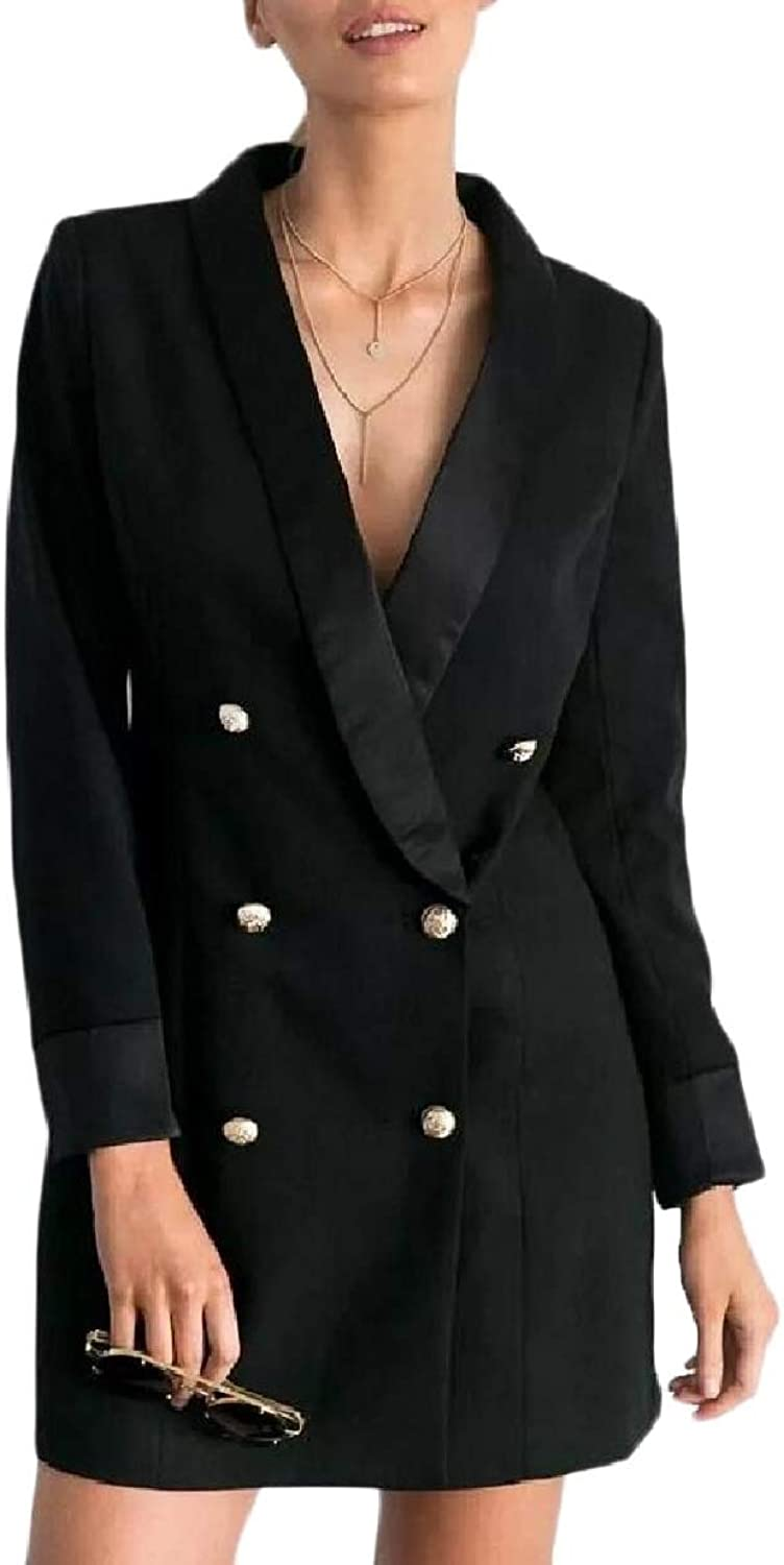 Tryist Womens MidLong Fitted Blazer Office Double Breasted Jacket Coat