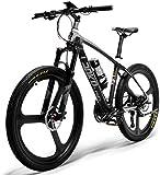 HUAKAII S600 26 '' Bicicleta Eléctrica 36v Cuadro De Fibra De Carbono 240w Bicicleta De Montaña (Negro)