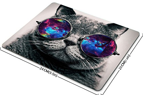 Smooffly Gaming Mouse Pad Custom,Galaxy Hipster Cat Wear Color Sunglasses Mouse pad 9.5 X 7.9 Inch (240mmX200mmX3mm) Photo #4