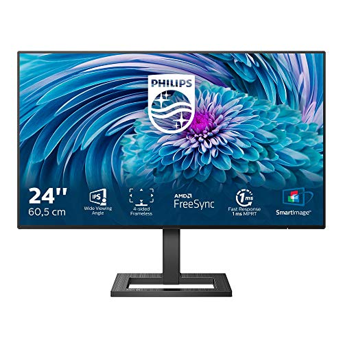 Philips 242E2FA - 24 Zoll FHD Gaming Monitor, 75 Hz, 4ms, Adaptive Sync (1920x1080, VGA, HDMI, DisplayPort) schwarz
