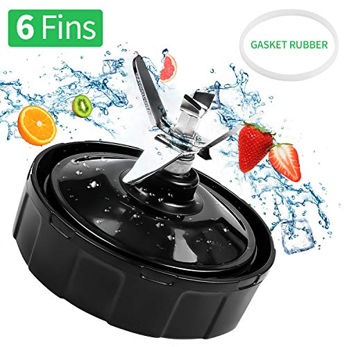 SUNKONG Replacement Blade Parts For Nutri Ninja Blender 6 Fins Extractor Bottom Blade Auto iQ BL450-70 BL451-70 BL454-70 BL481-70 BL482-70 BL483-70 Only fit for 18 oz 24 oz.32 oz