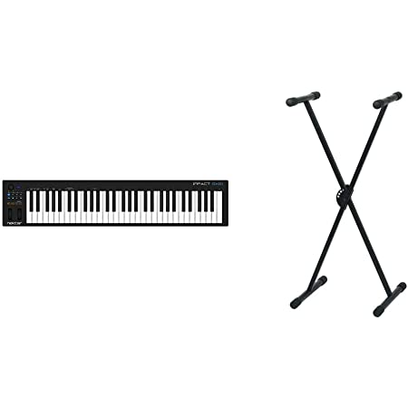 Nektar Impact GX61Controlador USB MIDI de teclado con integración de DAW + Pure GEWA F900520Soporte de teclado, patas perfil simple,negro