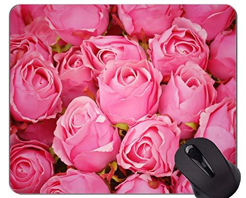 Yanteng Cojín de ratón Antideslizante, Caucho Natural, rectángulo, Cojines para ratón, Naturaleza, Rosa, Flor - Bordes cosidos