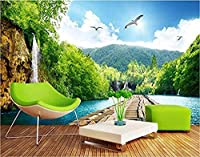 カスタム壁紙3D風景滝木製橋3Dビューリビングルーム背景壁紙壁画-300x210cm