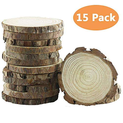 """Yexpress 15pcs 3.5""""-4"""" Inch Unfinished Natural Thick Wood Slices Circles with Tree Bark Log Discs for DIY Craft Christmas Rustic Wedding Ornaments"""