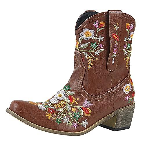 Briskorry Botas de vaquero de media altura con flores bordadas, botas de equitación clásicas para mujer, botas de equitación, botas de motorista, botas de equitación, botines Chunkyrayan Western