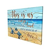 DRAWPRO Sea Turtle Bathroom Decor Wall Art Canvas Family Life This Is Us Quotes Print Paintings Framed Pictures Modern Home Decor For Living Room Kitchen Bathroom Ready To Hang,12x16 Inch
