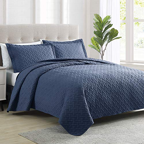 Love's cabin Summer Quilt Set King Size (106x96 inches) Navy Blue - Basket Pattern Lightweight Bedspread - Soft Microfiber Coverlet for All Season - 3 Piece (1 Quilt, 2 Shams)