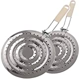 2 Pack Double Thickening Heat Diffuser Reducer Flame Guard Simmer Plate, Stainless Steel for...