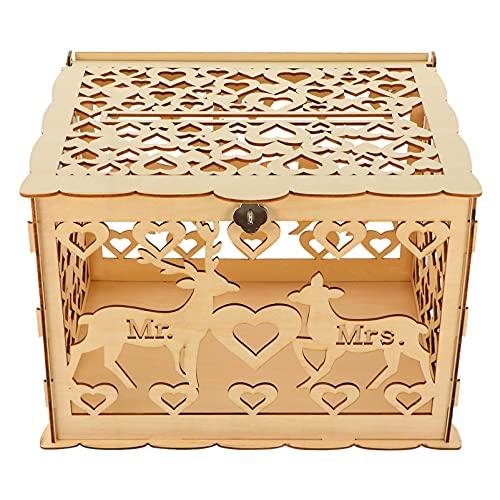 STOBOK Caja rústica para tarjetas de boda con cierre de reno Mr Mrs Box para recepción, boda, aniversario, baby shower, festival, cumpleaños, graduación, fiesta de decoración