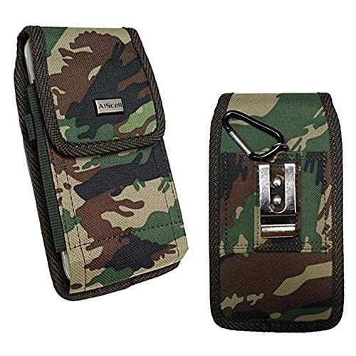 AIScell Camouflage Holster Carrying Case for iPhone 12 Pro Max,11 Pro Max,11, Xs Max, XR, 8 Plus, 7 Plus, 6S Plus Nylon Case Metal Clip Heavy Duty Pouch with Protective Cover on or Naked Phone