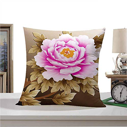 SKDSArts Square Throw Pillow Covers Set  Pink and White Fubuki Dahlia Over red and White Santa Claus Dahlia 26'x26',for Bedroom Living Room Sofa Home Decor