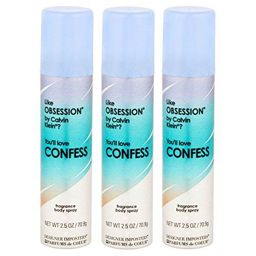 Designer Imposters CONFESS Fragrance Body Spray 2.5 oz (Pack of 3)