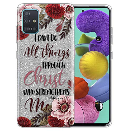 FINCIBO Case Compatible with Samsung Galaxy A51 A515 6.5 inch 2019, Shiny Silver Bling Glitter TPU Protector Cover Case for Galaxy A51 (NOT FIT A51 5G 2020) - Christian Bible Verses Philippians 4:13