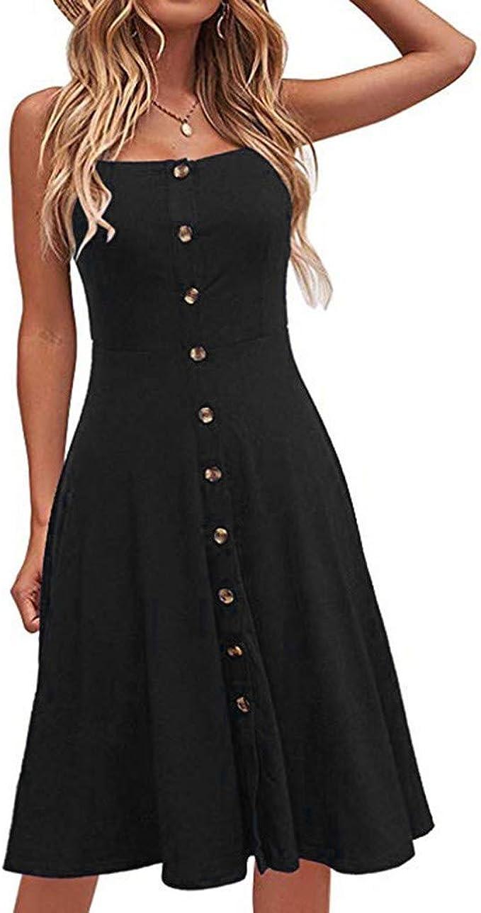Uribaky Enges Kleid Frauen Partei Langes Kleid Knopf Kleid Armelloses Damen Sommerkleid Beilaufiges Festes A Liniekleider Mit Beilaufiges Lose Amazon De Bekleidung