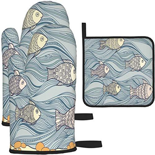 Niedliche lustige Cartoon schwimmende Fischofenhandschuhe und Topflappen 880 Stück Set Küchenofen Handschuh und Topflappen rutschfest zum Kochen Backen Grillen-als Farbe-Eins-Größe