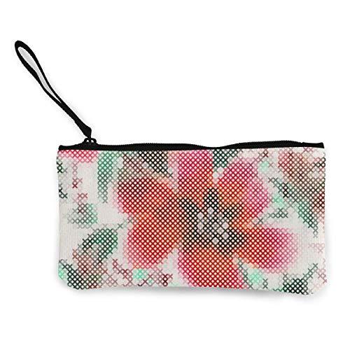 Monedero de lona de punto de cruz para mujeres y niñas, con cremallera, bolso pequeño para llavero, dinero y viaje
