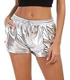 Tandisk Women's Yoga Hot Shorts, Shiny Metallic Pants with Elastic Drawstring, L, Silver