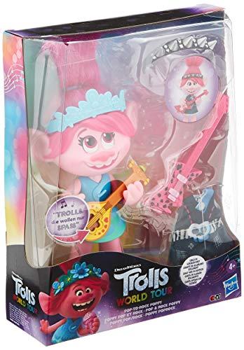 Hasbro DreamWorks Trolls Pop & Rock Poppy, singende Puppe mit 2 verschiedenen Looks und Sounds, singt Trolls, die wollen nur Spaß