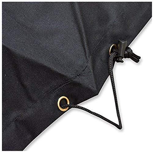 Cubiertas redondas para muebles de jardín, cubiertas de muebles de patio al aire libre, impermeable, resistente a los rayos UV, para sillas de mesa grandes, color negro (tamaño: 230 x 110 cm)