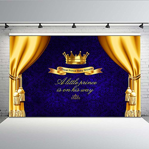 Mehofoto Royal Blue Baby Shower Backdrop Gold Crown Photo Background for Little Prince 7x5 Professional Customized Photography Backdrops for Newborn Baby Birthday