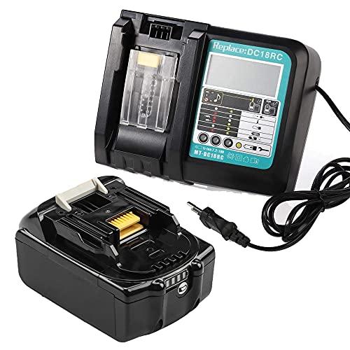 Reemplace la batería makita 18v 5ah + cargador 3a con pantalla, compatible con la batería de herramientas makita bl1850 bl1840 bl1830