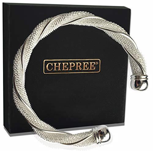 CHEPREE Damen Armreif - Mit 925 Sterling Silber plattiert - Elegantes Design für Frauen